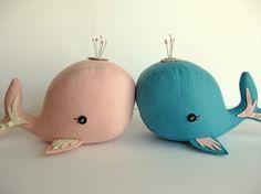Cute whale pin cushions