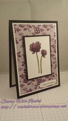 Stampin up I love lace background stamp & bloom with hope hostess stamp set. Card is 2 of 4 I made in different colours.
