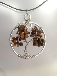 Natural Tigers Eye Tree of Life Pendant by SweetfireCreations