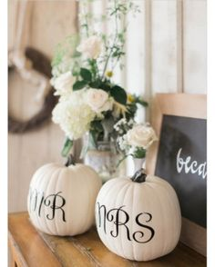 and Mrs. Pumpkins for a Fall Wedding - 17 Homemade Wedding Decorations for Couples on a Budget - EverAfterGuide Mr. and Mrs. Pumpkins for a Fall Wedding - 17 Homemade Wedding Decorations for Couples on a Budget - EverAfterGuide Homemade Wedding Decorations, Fall Wedding Centerpieces, Fall Decorations, Wedding Bouquets, Centerpiece Ideas, Wedding Arrangements, Halloween Wedding Decorations, Fall Wedding Table Decor, Classy Halloween Wedding