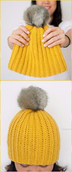 Crochet Easy Ribbed Pom Beanie Hat Free Pattern - Crochet Cable Hat Free Patterns