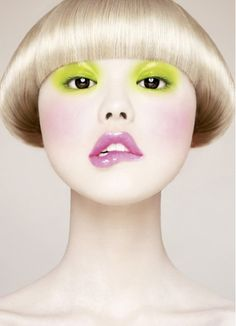 Uncanny perfection   lime eyes, lilac lips... and the shiniest bowl cut in existance  Chen Man