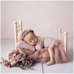 Blush tones. Newborn props. Newborn bed. feminine. Blush theme. Newborn photography