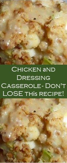 Chicken аnd Dressing Casserole – Don't LOSE thіѕ recipe! Easy Casserole Recipes, Stuffing Recipes, Casserole Dishes, Meat Recipes, Cooking Recipes, Stuffing Mix, Homemade Stuffing, Free Recipes, Chicken And Dressing Casserole