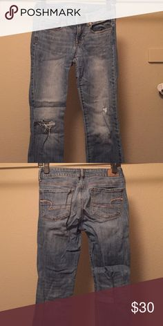 American eagle jeans Light blue denim American Eagle jeans. Skinny/ankle cut. No longer fit. Distress in right knee doesn't widen with wear. Small distress accents. American Eagle Outfitters Jeans Skinny