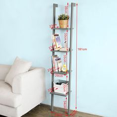 ladder bookcase made of wood with four floors,book shelf, stand shelf, wall shelf, 12.99inch x 70.87inch, FRG15-HG