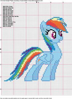 Rainbow Dash Cross Stitch Pattern by ~AgentLiri on deviantART My Little Pony Cross Stitch For Kids, Cross Stitch Charts, Cross Stitch Designs, Cross Stitch Patterns, Cross Stitching, Cross Stitch Embroidery, Embroidery Patterns, Rainbow Dash, My Little Pony Craft