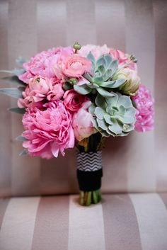 peonies & succulents bouquet