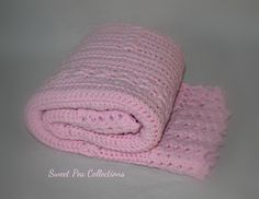 Pink Crochet Baby Blanket Baby Afghan Baby Shower Gift Baby Girl Travel Blanket Security Blanket Modern Crochet READY TO SHIP by sweetpeacollections on Etsy