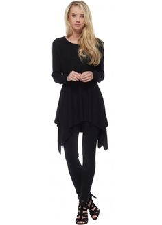 Laetitia Mem Two Piece Fine Knit Black Asymmetric Jumper & Leggings