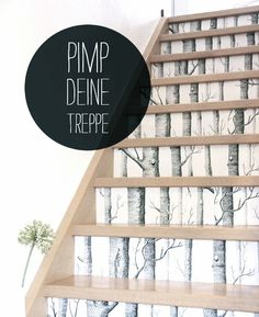 DIY Via Sanvie | Pimp Your Stairs with (Cole and Son Birch) Wallpaper