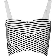 Rebecca Minkoff Cielo cropped striped stretch-knit top (195 TND) ❤ liked on Polyvore featuring tops, crop top, shirts, blusas, white, stripe crop top, white crop top, crop shirts, white bra top and white striped shirt