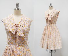 RESERVED // SALE // vintage 1950s dress / 1950s calico dress /