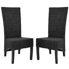 Shop for Safavieh Rural Woven Dining St. Croix Wicker Black High Back Side Chairs (Set of 2). Get free shipping at Overstock.com - Your Online Furniture Outlet Store! Get 5% in rewards with Club O!