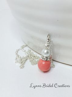 Coral Pendant Necklace Bridesmaid Necklace by LynnsBridalCreations
