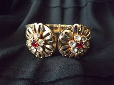 Vintage Hinged Gold Bracelet With Red by GoldenBeeAntiques on Etsy