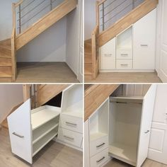 understairs storage Installation under stairs - Our Cadence GI from NotreMaisonPi . Staircase Storage, Stair Storage, Staircase Design, Under Stairs Cupboard, Stair Makeover, Home Theater Design, House Stairs, Basement Stairs, Basement Remodeling