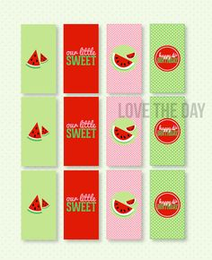 Welcome to Love The Day!    These PRINTABLE (DIY) candy bar wrappers are perfect for your upcoming Watermelon Party! Party materials can be printed at home or your local print shop. Print, cut and party! Its as easy as that!    This listing is for DIY PRINTABLE Berry Bash mini candy bar wrapper:  • PDF File (12 wrappers per sheet of paper)  DESIGNED TO FIT MINIATURE HERSHEY BARS    ------------------------------------------  LOVE THE DAY FILE FORMAT…