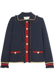 Gucci - Ruffled metallic merino wool-blend cardigan