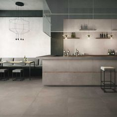 Buy Zen XL Warm Grey tiles from Porcelain Superstore. Visit our website for great deals on porcelain tiles all with 5 year guarantee. Restaurant Interior Design, Decor Interior Design, Modern Restaurant, Interior Decorating, Decorating Games, Grey Floor Tiles, Grey Flooring, Flooring Ideas, Coffee Shop Design