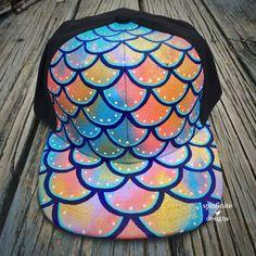 hand-painted snapback hat - mermaid / merman lid - wearable art