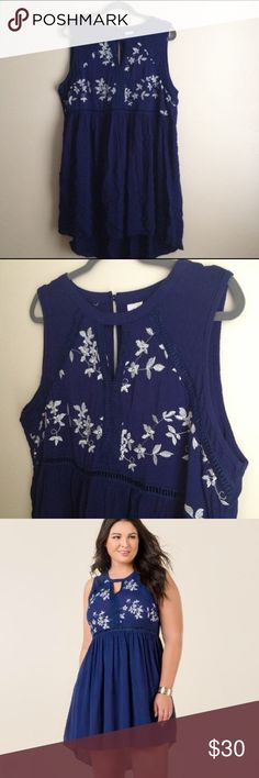 Navy Embroidered Dress Navy blue dress... White floral embroidery... Hi-lo hemline... Rayon/Polyester/Cotton/Nylon Dresses High Low
