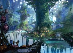 Environment commission Tyler Edlin is a concept artist and illustrator residing in Boston, US. He embraces his overwhelming passion for game art and Fantasy City, Fantasy Forest, Magic Forest, Fantasy Kunst, Fantasy Places, Fantasy World, Anime Fantasy, Fantasy Art Landscapes, Fantasy Landscape