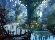 fantasy landscape anime scenery forest visual novel concept places
