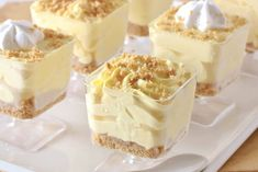 No-Bake Lemon Cheesecake Mousse Cups - Overtime Cook (no bake oreo cheesecake cups) Lemon Desserts, Köstliche Desserts, Lemon Recipes, Delicious Desserts, Dessert Recipes, Yummy Food, French Desserts, Plated Desserts, No Bake Lemon Cheesecake