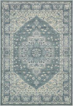$377 Light Blue 6' 7 x 9' 7 Heriz Design Rug | Area Rugs | eSaleRugs