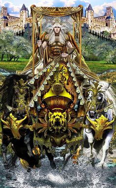 Many Thanks to... Pentacle Throne Rabbit Drapery Tulips Flowers Golden Pear Grapes