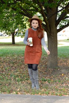 Suede shift dress from Tobi with Naturalizer boots, a turtleneck, and a hat