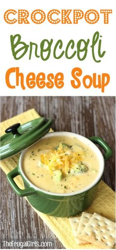 Crockpot Broccoli Cheese Soup Recipe from this easy and delicious Slow Cooker cheesy soup is the perfect dinner on a chilly day Crock Pot Recipes, Easy Soup Recipes, Easy Dinner Recipes, Easy Meals, Cooking Recipes, Healthy Crockpot Soup Recipes, Cake Recipes, Vegetarian Recipes, Crock Pots