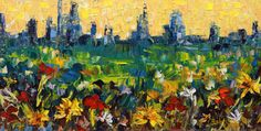 """Daily Painters Abstract Gallery: Palette Knife Denver Landscape Painting """"City Flower"""" by Colorado Impressionist Judith Babcock"""