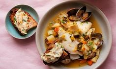 Potato, haddock and clam soup with horseradish rouille