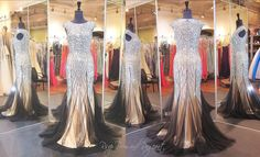 Classy Black-Nude Mermaid Prom Dress 115EC0150050845 at Rsvp Prom and Pageant, Atlanta, Georgia Sparkling crystal jewels adorn the high neckline bodice and its elegant cap sleeves. This stunning mermaid style fits the body perfectly creating a sophisticated silhouette. Buy it NOW at http://rsvppromandpageant.net/collections/long-gowns/products/classy-black-nude-mermaid-prom-dress-115ec0150050845