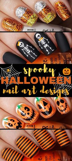 Diy nails 319896379783478121 - Easy Halloween nail designs that are scary simple and cute. Many easy Halloween nail art designs to DIY Spooky Halloween, Nail Art Halloween, Halloween Film, Halloween Nail Designs, First Halloween, Halloween Party Decor, Halloween Crafts, Halloween Costumes, Women Halloween