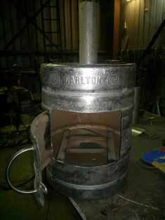 Outdoor fire made from a beer keg