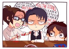 """""""HANJI, THAT THING IS FILTHY AND RIDDEN WITH GERMS... Also get that Titan meat away from me."""" Levi, Hanji Zoe, and Eren Jaeger"""
