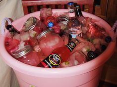 This was for a Breast Cancer Gathering- Pink Lemonade/Razberry Vodka in mason jars and frozen mini Carnations in Ice Cubes- Photo doesn't do it Justice-