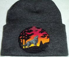 Wolf Sunset Embroidery yellow to bugandy Sky Winter Beanie Hat  Wiccan pagan witch