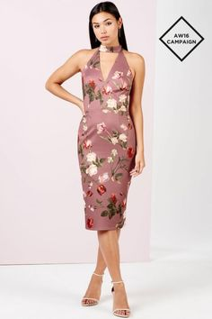 Girls on Film Tulip Print Midi Dress With Cut Out - Girls On Film from Little Mistress UK
