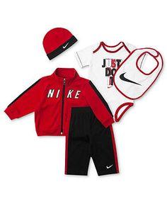 Nike Baby Set, Baby Boys 5-Piece Hat, Bib, Bodysuit, Jacket and Pants - Kids Baby Boy (0-24 months) - Macy's