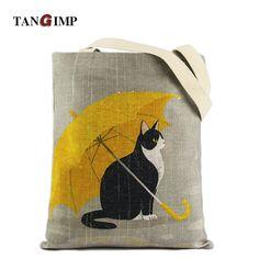 Tangimp cute cat ombrello carry-all cotone naturale delle donne delle borse eco-friendly fai da te grocery shopping tote del computer portatile borse da spiaggia