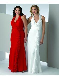Chiffon Halter Ruffled Edge Neckline Pleated Bodice Floor-Length Special Occasion Dress