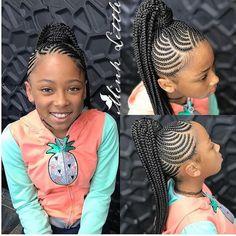 Black Kids Braids Hairstyles, Little Girls Natural Hairstyles, Lil Girl Hairstyles, Braided Ponytail Hairstyles, Braided Hairstyles For Black Women, Bandana Hairstyles, Little Girl Braids, Girls Braids, Braids For Black Kids