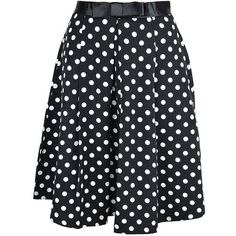 Edler POLKA DOTS Bow 50s Punkte Pin Up SWING Skirt / Rock - Schwarz... ❤ liked on Polyvore featuring skirts, rockabilly skirt, polka dot skirts, pinup skirt, rock skirting and bow skirt