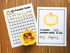 Use a hundreds chart to help students count pumpkin seeds.