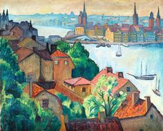 """Maj Bring 1880-1971 View from the South towards """"Gamla Stan""""(Stockholm)"""