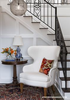 Design by Laura Bartell | Photography by Rett Peek | At Home in Arkansas Magazine | http://www.athomearkansas.com/article/primary-palette #foyers #white #colors